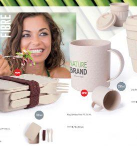 Lunch box porta pranzo set con posate tazza e bicchiere in fibra di Bamboo\PP