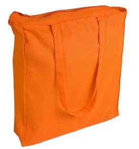 Borsa cotone pesante soffietti e zip di chiusura