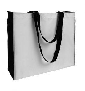 Shopper promozionale poliestere con soffietti e manico colorati