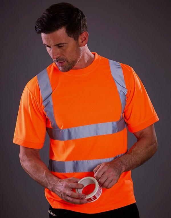 T-shirt maglia Fluo alta visibilità con strisce riflettenti