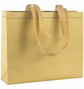 Shopper Glitter in tnt laminato manici lunghi e soffietto