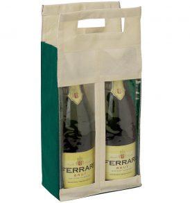 Borsa tessuto non tessuto per due bottiglie con finestra