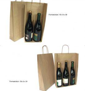 Borsa carta per due e tre bottiglie con divisorio