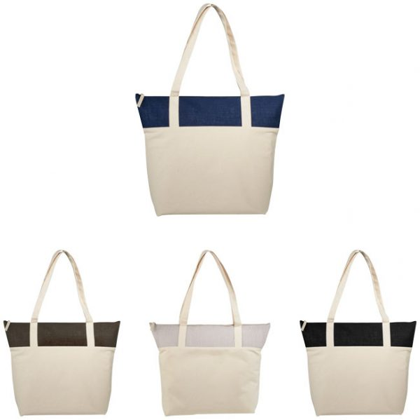 Shopper Juta e canvas con zip