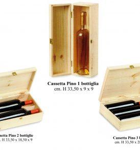Cassetta in legno per una due o tre bottiglie