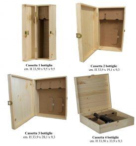 Cassetta in legno per bottiglie con inserto in cartone