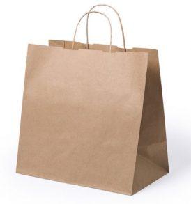 Borsa shopper di carta avana con manico ritorto take away
