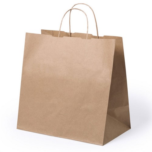Borsa shopper di carta avana con manico ritorto take away