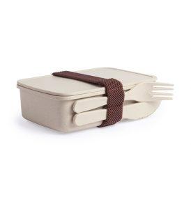 Lunch box porta pranzo con posate in fibra di Bamboo\PP