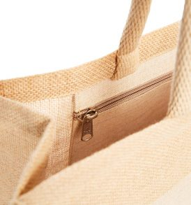 Borsa in juta con tasca interna con zip