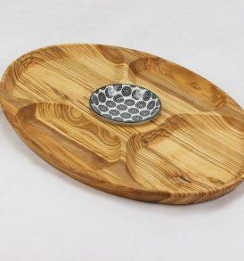 Vassoio centro tavola in olivo con ciotola in ceramica