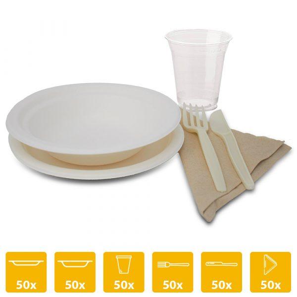 Kit party biodegradabile -50 persone- piatti bicchieri posate e tovaglioli