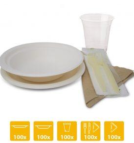 Kit party biodegradabile -100 persone- piatti bicchieri posate e tovaglioli