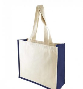 Borsa canvas con soffietti in juta colorata