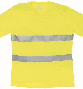 T-shirt maglia alta visibilità con strisce riflettenti